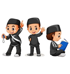 Muslim boy in black costume vector image vector image