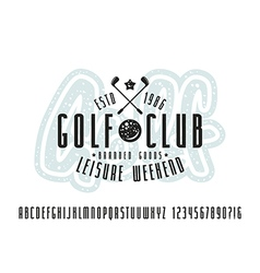 Narrow sanserif font and golf club label vector