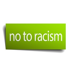 No to racism square paper sign isolated on white vector