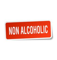 Non alcoholic square sticker on white vector