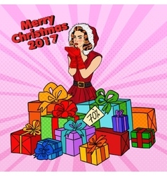 Pop Art Woman in Santa Hat on Christmas vector image
