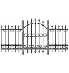 Seamless metal fence with doorway vector