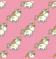 Seamless pattern with unicorn in kawaii japanese vector