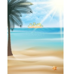 Seaside view poster template vector