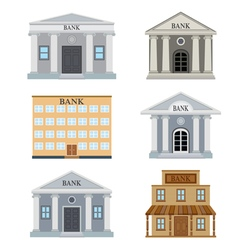 Set of bank houses vector