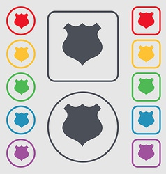 shield icon sign symbol on the Round and square vector image