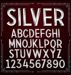 Silver embossed font vector