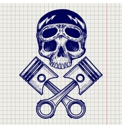 Sketch of biker rider skull vector