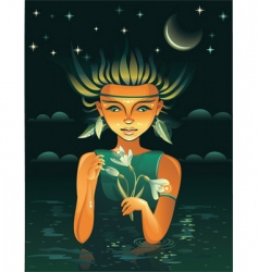 spirit shaman girl vector image vector image
