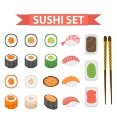 Sushi set icons element for design flat style vector