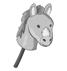 Toy donkey icon black monochrome style vector