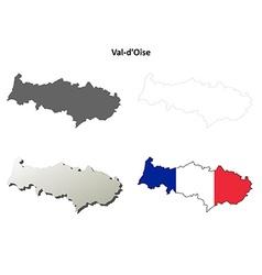 Val-doise ile-de-france outline map set vector