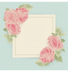 Vintage card with roses and square border vector