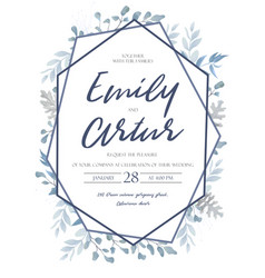 Wedding floral blue color invite invitation card vector