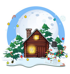wooden cottage and snowman on christmas vector image