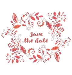 Red greeting or save the date card vector image