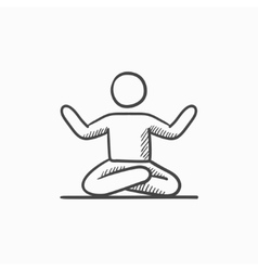 Man meditating in lotus pose sketch icon vector