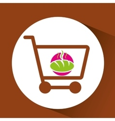 Shopping cart with hot bread vector