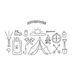 Line style objects for adventure and travel vector