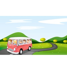 Bus and road vector