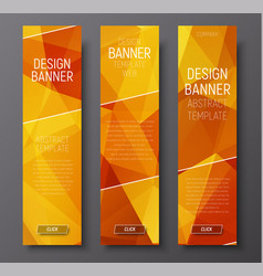 Banners with abstract polygonal background gold vector