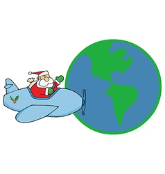 Santa Claus Flying His Plane Around The Globe vector image