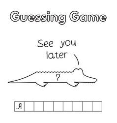 Cartoon alligator guessing game vector