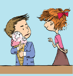 Greedy boy with a big ice cream cone and the girl vector
