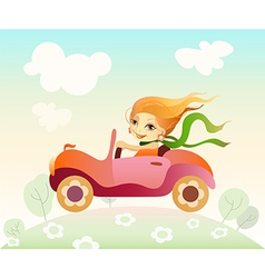 Girl driving car vector