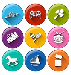 Round buttons with toys vector