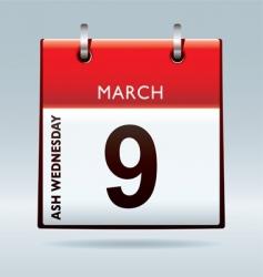 ash Wednesday calendar vector image