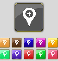 Plus map pointer gps location icon sign set with vector