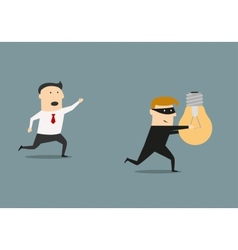 Thief stealing idea from businessman vector image