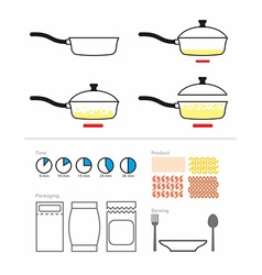 Cooking instruction with a frying pan fry on vector