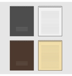 Set of open and closed spiral notepad vector
