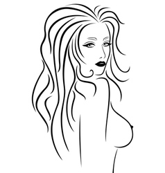 Abstract beautiful woman with a naked breast vector