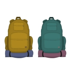 Travel backpacks mustard and aqua blue colors vector