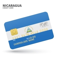 Credit card with nicaragua flag background for vector