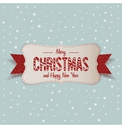 White merry christmas banner with red ribbon vector