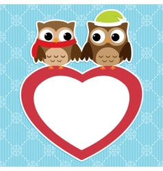 Owls love card vector