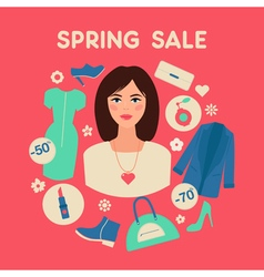 Shopping spring sale in flat design with woman vector