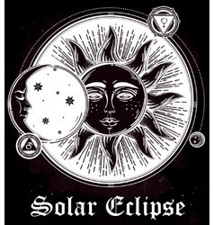Vintage hand drawn sun eclipse with planets vector