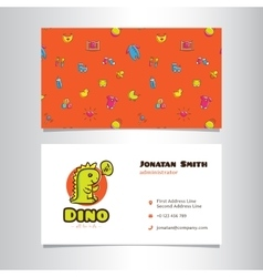 Business card template with cute dino logo vector