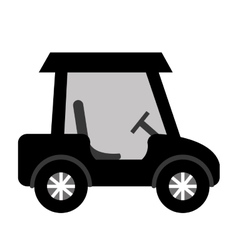 Black golf cart side view graphic vector