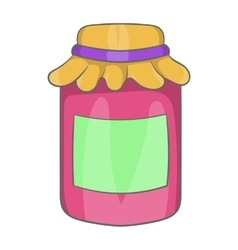 Jam in a glass jar icon cartoon style vector