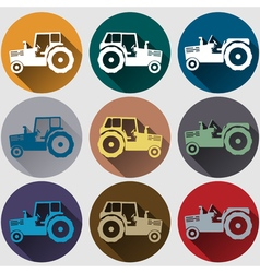 Tractor icons flat design vector