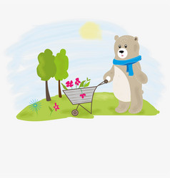bear planting flowers vector image