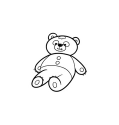 black and white drawing of lovely teddy bear toy vector image