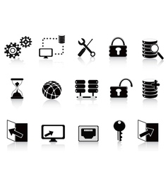 Black database and technology icon vector