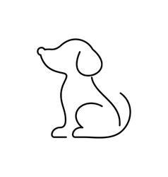 Black dog thin line icon vector image vector image